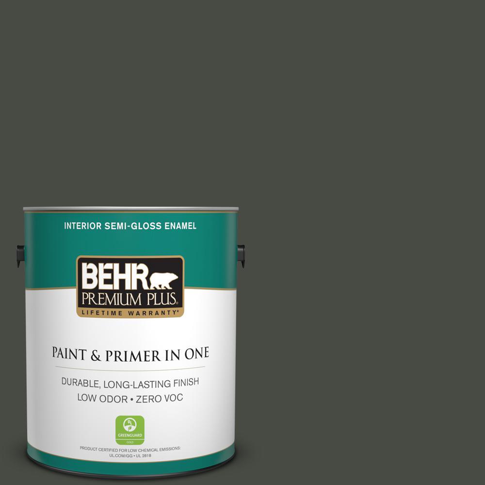 BEHR Premium Plus 1-gal. #710F-7 Black Swan Zero VOC Semi-Gloss Enamel Interior Paint