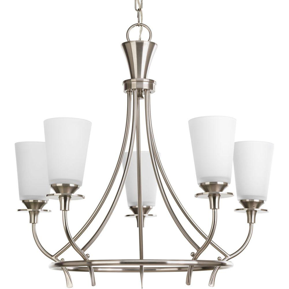 Cantata Collection 5-Light Brushed Nickel Chandelier with Shade with Etched