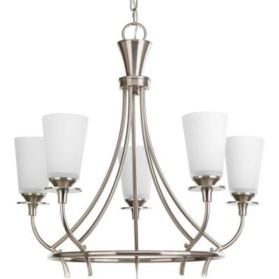Cantata Collection 5-Light Brushed Nickel Chandelier with Etched White Glass Shade