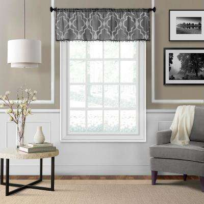 Montego 52 in. W x 15 in. L Ironwork Sheer Window Valance in Black