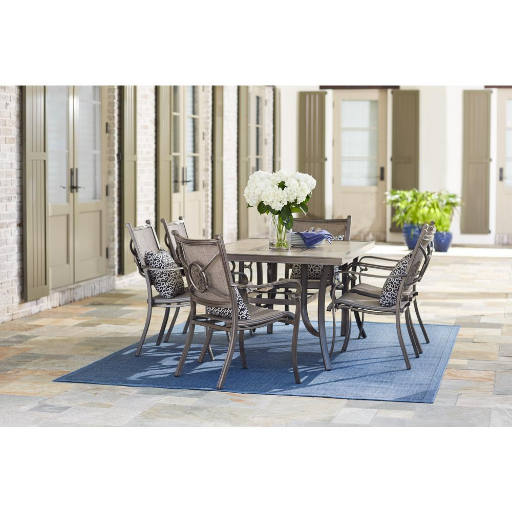 Home decorators collection wilshire estates 7 piece aluminum sunbrella sling outdoor dining set