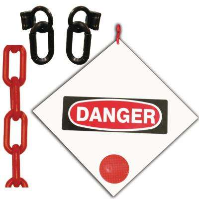 Danger Sign 8 in. x 8 in. with 12 ft. Red Plastic Chain