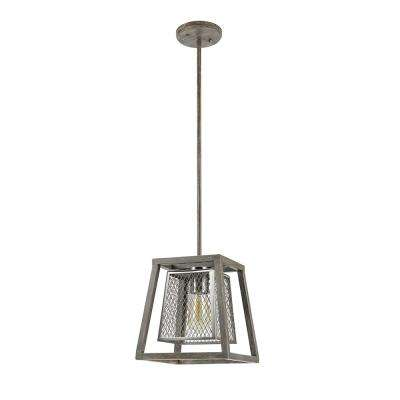 1-Light Gray Drift Wood Dual Shade Mini Pendant with Brushed Nickel Mesh Inner Shade