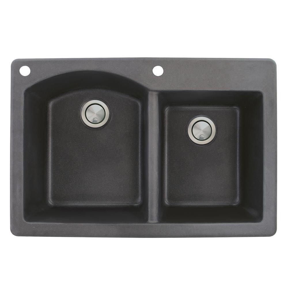 Aversa Drop-in Granite 33 in. 2-Hole 1-3/4 D-Shape Double Bowl Kitchen Sink in Black