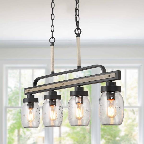 Lnc Araphi 4 Light Black Modern Farmhouse Wood Chandelier Rustic Linear Kitchen Island Glass Jar Pendant Light A03512 The Home Depot