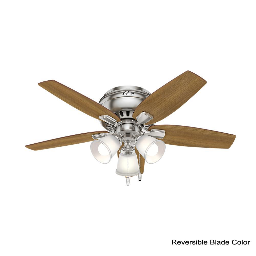 Details About Echo Bluff 42 In Led Indoor Brushed Nickel Flush Mount Ceiling Fan With Light