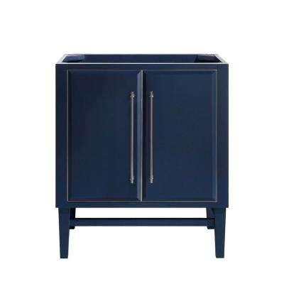 Mason 30 in. Bath Vanity Cabinet Only in Navy Blue with Silver Trim