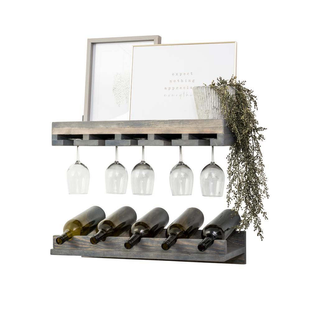 Rustic Luxe 5-Bottle Gray Wood Wall Mounted Wine Rack