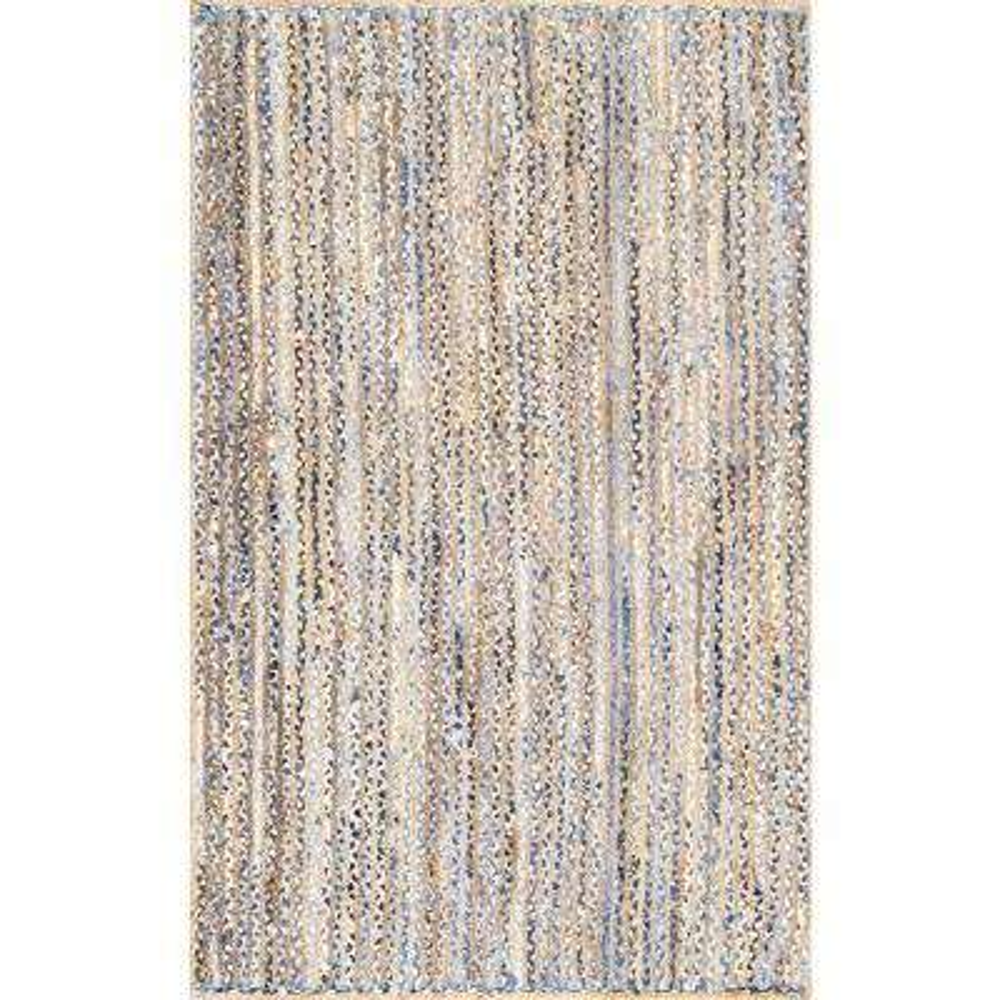 Striped Dara Jute Blue 3 Ft X 5 Area Rug