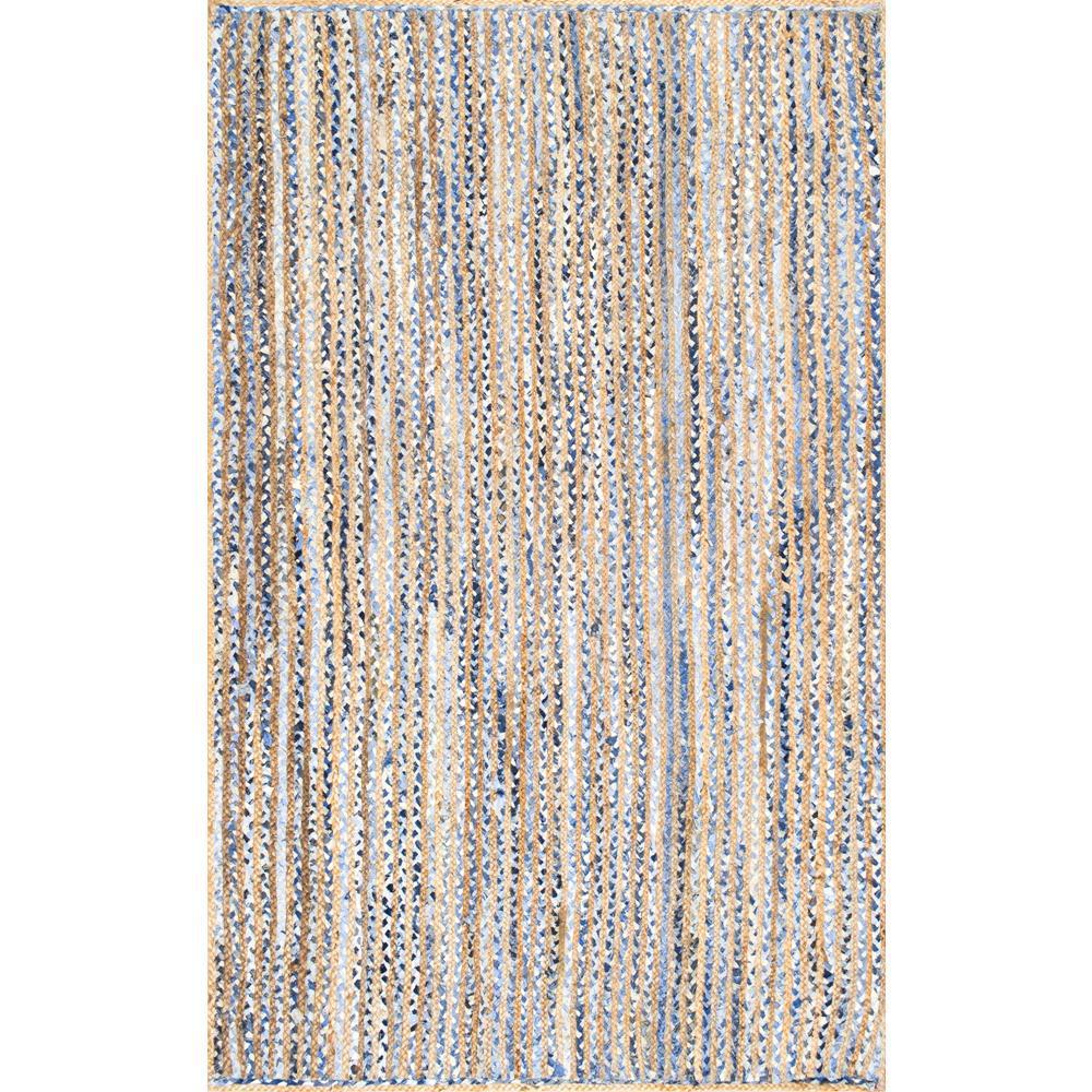 Striped Dara Jute Blue 9 ft. x 12 ft. Area Rug