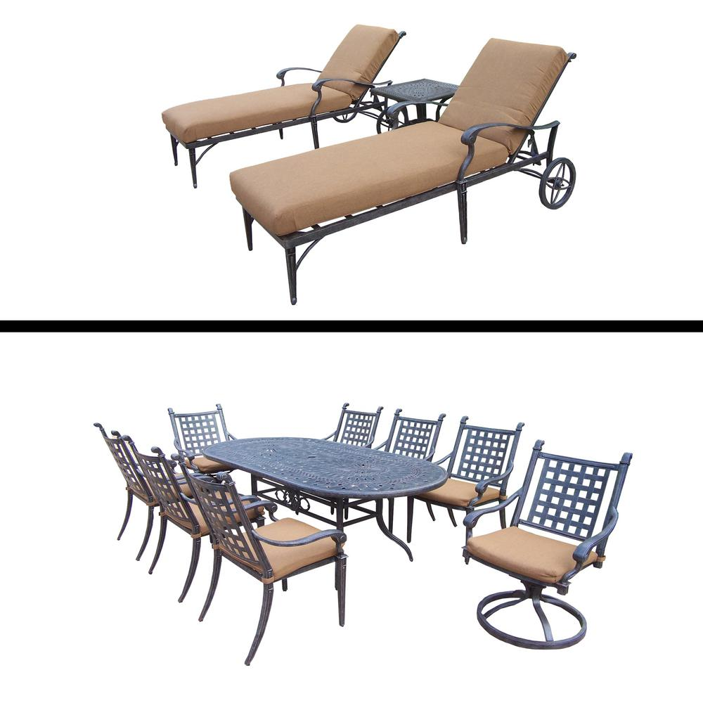 Great Belmont Premier 12 Piece Aluminum Oval Outdoor Dining Set With Sunbrella  Brown Cushions