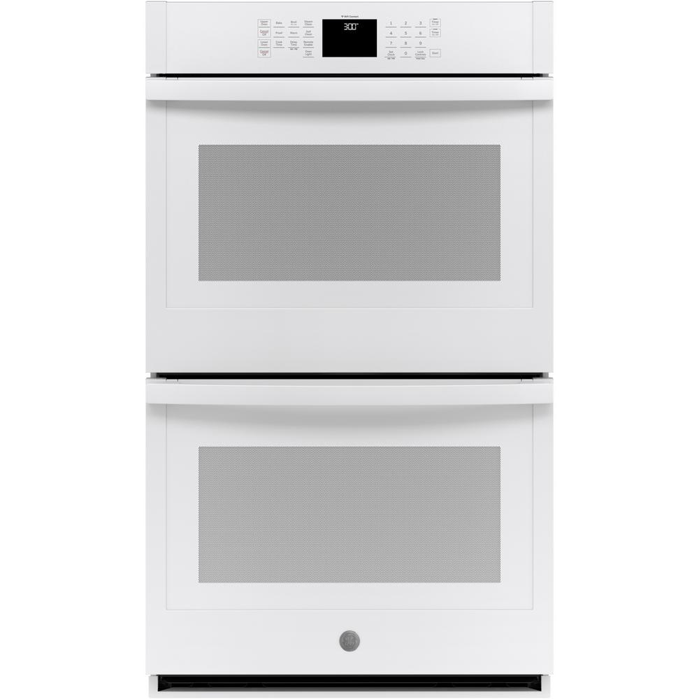 GE 30 in. Smart Double Electric Wall Oven Self-Cleaning with Steam in White
