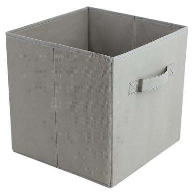 10.5 in. x 10.5 in. Smokey Grey Collapsible and Foldable Non-Woven Storage Cube