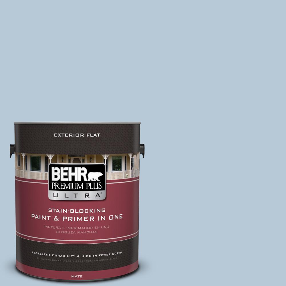 BEHR Premium Plus Ultra 1 gal. #UL230-13 Denim Light Flat Exterior Paint