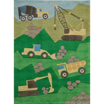 Lil Mo Whimsy Construction Green 4 ft. x 6 ft. Indoor Kids Area Rug