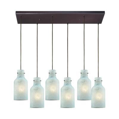 Weatherly 6-Light Rectangle in Oil Rubbed Bronze with Chalky Seafoam Glass Pendant