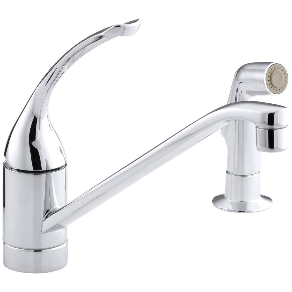 KOHLER Coralais Single-Handle Standard Kitchen Faucet with Side Sprayer in  Polished Chrome