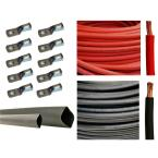 """5 ft. Black+5 ft. Red 8AWG with 10pcs of 3/8"""" Tinned Copper Cable Lug Terminal Connectors and 3 ft. Heat Shrink Tubing"""