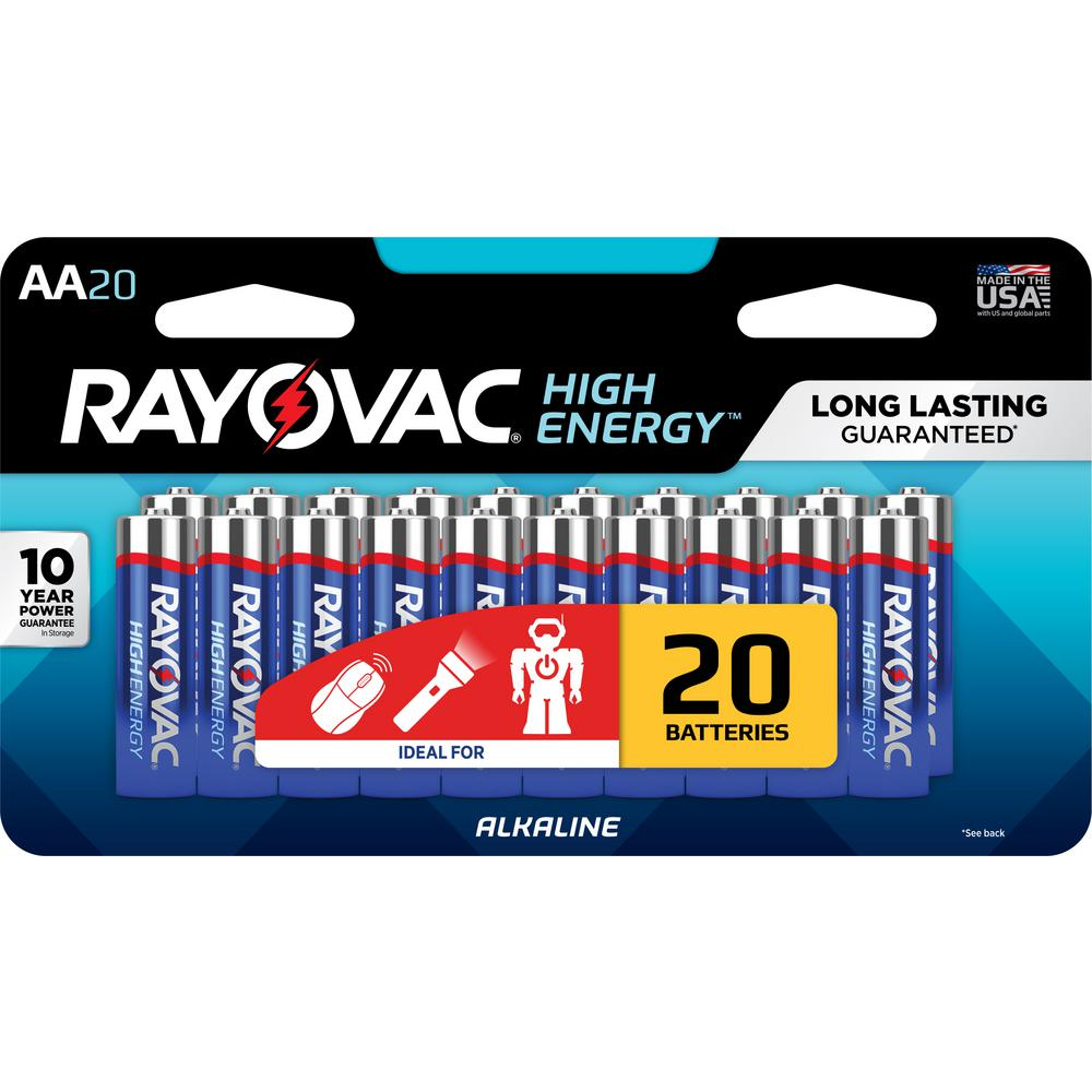 rayovac high energy alkaline aa 1 5 volt battery 20 pack 815 20lj the home depot