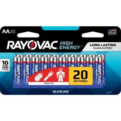 High Energy Alkaline AA/1.5 Volt Battery (20-Pack)