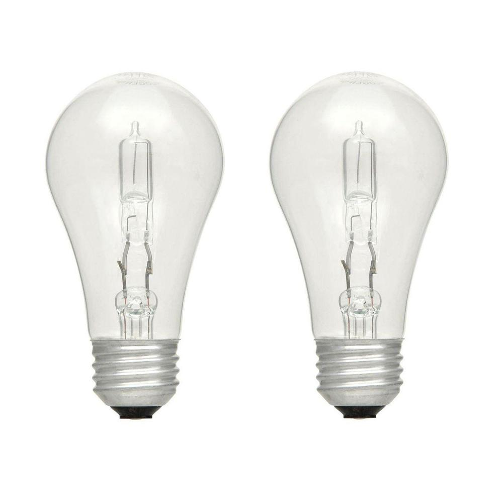 EcoSmart 75-Watt Equivalent A19 Dimmable Eco-Incandescent Light Bulb Soft White (2-Pack)