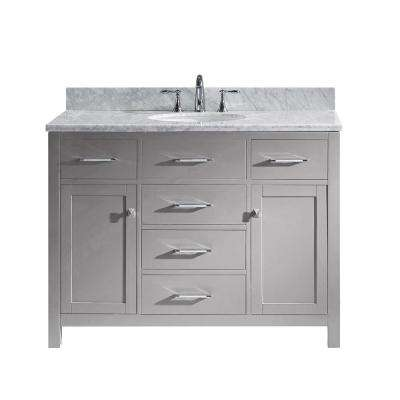 Caroline 49 in. W Bath Vanity in Cashmere Gray with Marble Vanity Top in White with Round Basin