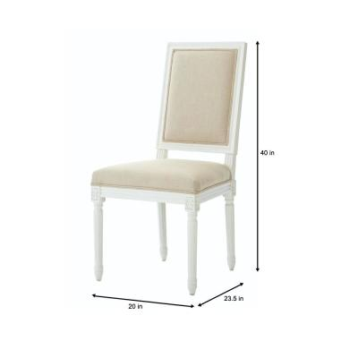 Home Decorators Collection Jacques Antique Ivory Natural Linen Square Back Dining Chair Set Of 2 9488620350 The Depot