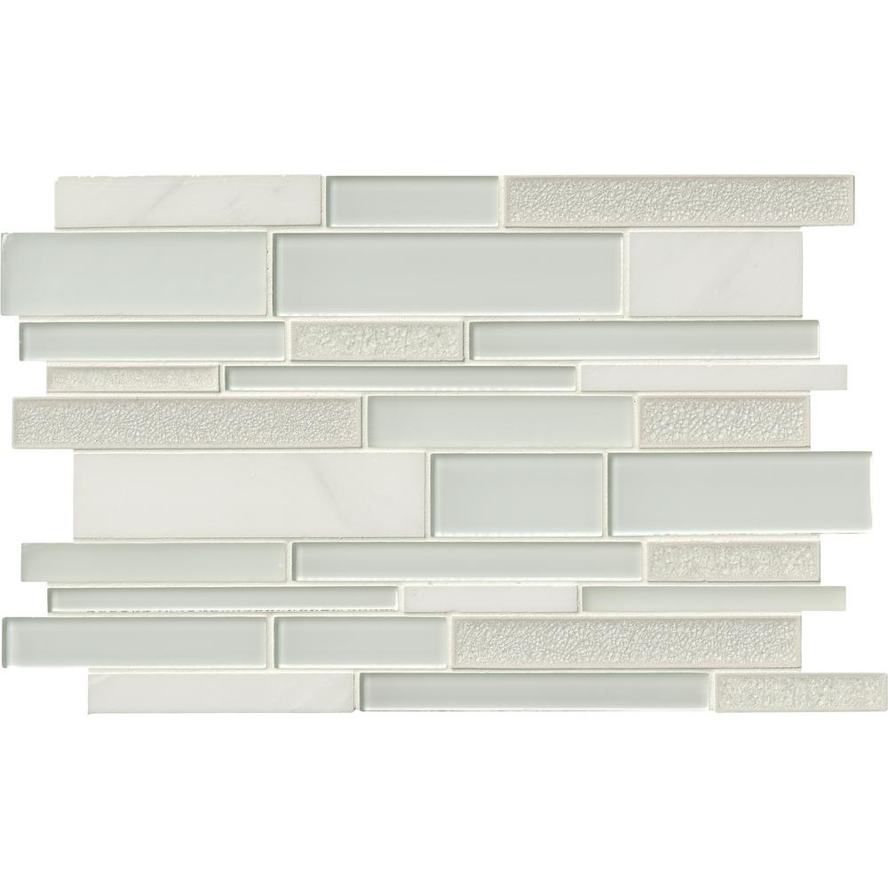 MSI Fantasia Blanco Interlocking 12 in. x 18 in. x 8 mm Glass and Stone Mesh-Mounted Mosaic Tile