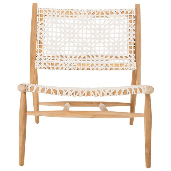 Safavieh-Bandelier Off-White/Natural Leather Accent Chair
