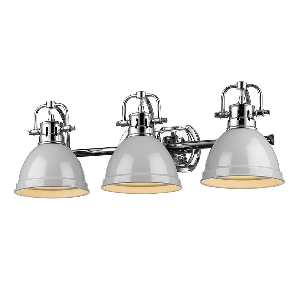 Duncan 3-Light Chrome Bath Light with Gray Shade