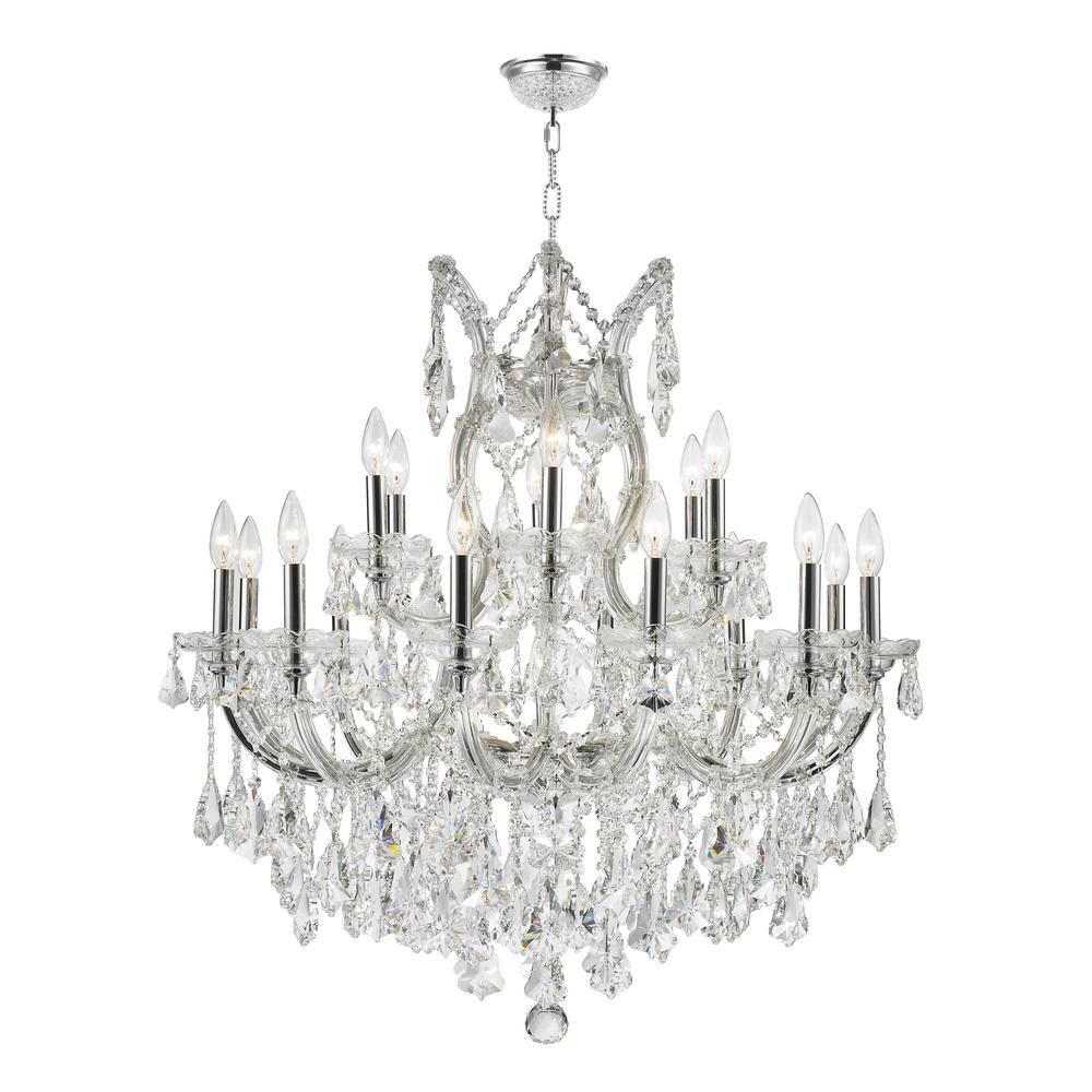 Worldwide lighting maria theresa 19 light polished chrome worldwide lighting maria theresa 19 light polished chrome chandelier with clear crystal w83005c30 the home depot arubaitofo Choice Image