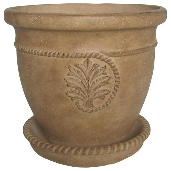 16 in. Dia in Aged Ivory Cast Stone Cameo Pot
