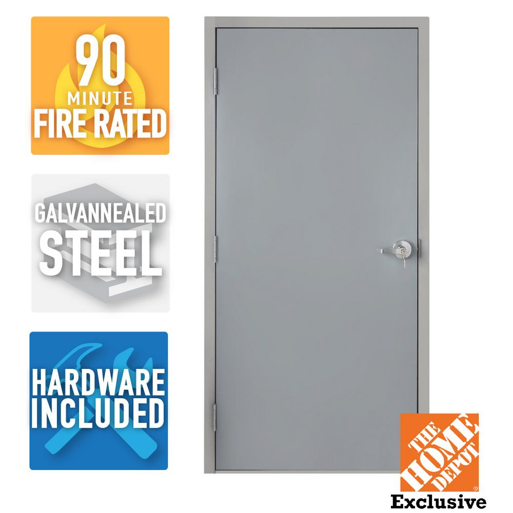 Fire-Rated Gray Right-Hand Flush Steel Commercial Door with Knock Down Frame and Hardware  sc 1 st  The Home Depot & Armor Door 36 in. x 80 in. Fire-Rated Gray Right-Hand Flush Steel ...