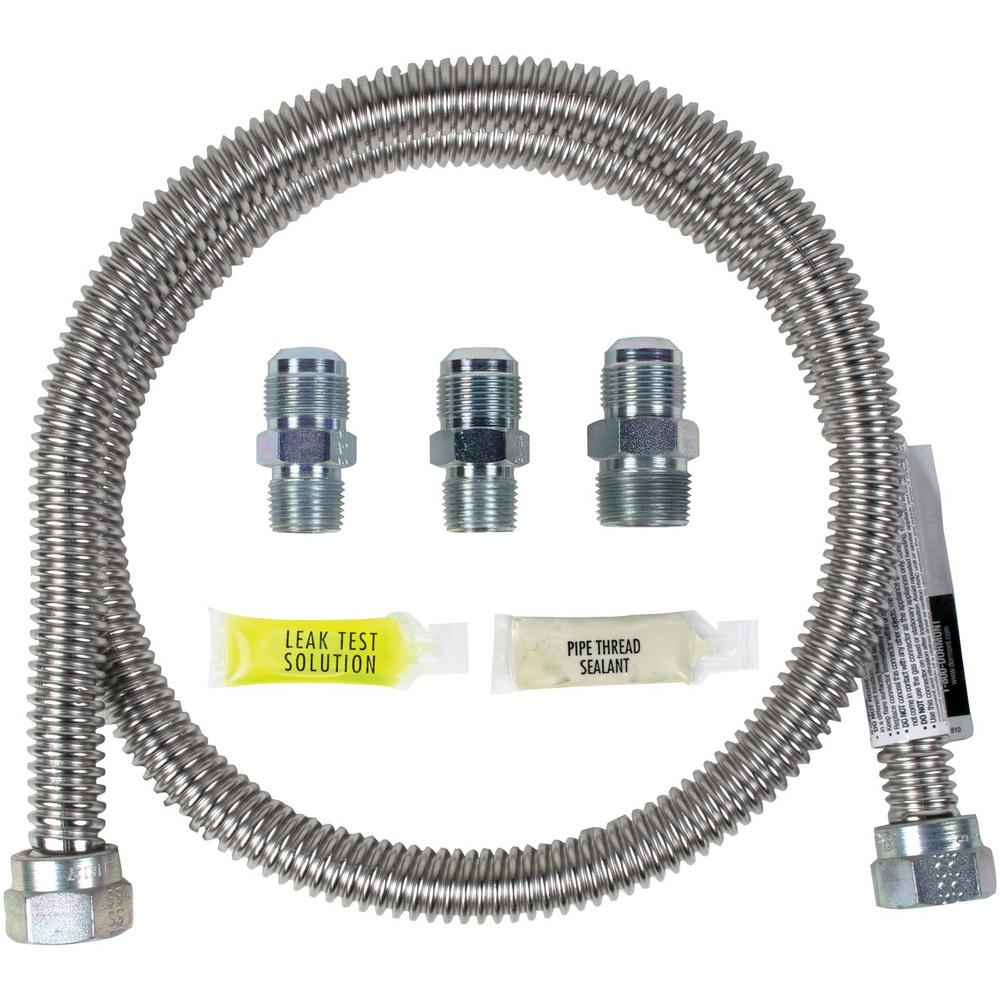 CERTIFIED APPLIANCE ACCESSORIES 4 ft. Universal Gas Line Connector Kit, Silver For years, licensed plumbers, electricians and appliance installers have relied on CERTIFIED APPLIANCE ACCESSORIES for their power cords, hoses and connectors. Now you can too. Enjoy the installation convenience offered by this universal gas line connector kit from CERTIFIED APPLIANCE ACCESSORIES. This high-quality kit includes a gas line, adapters, pipe-thread sealant, and leak-test solution. The kits flexibility and durability ensure a reliable connection for your next home installation project. It has been thoroughly tested and is backed by a 5-year limited warranty. Check your appliance's manual for the correct specifications to ensure this connector kit is right for you. Thank you for choosing CERTIFIED APPLIANCE ACCESSORIES Your Appliance Connection Solution. Color: Silver.
