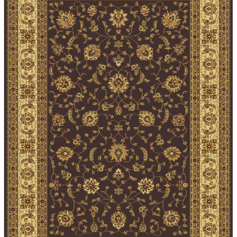 Home Dynamix Regency Brown/Ivory 26 in. x Your Choice Indoor Roll Rug Runner