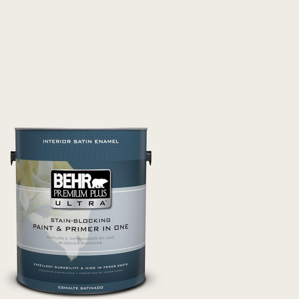 BEHR Premium Plus Ultra 1 gal. #PPU7-12 Silky White Satin Enamel Interior Paint and Primer in One