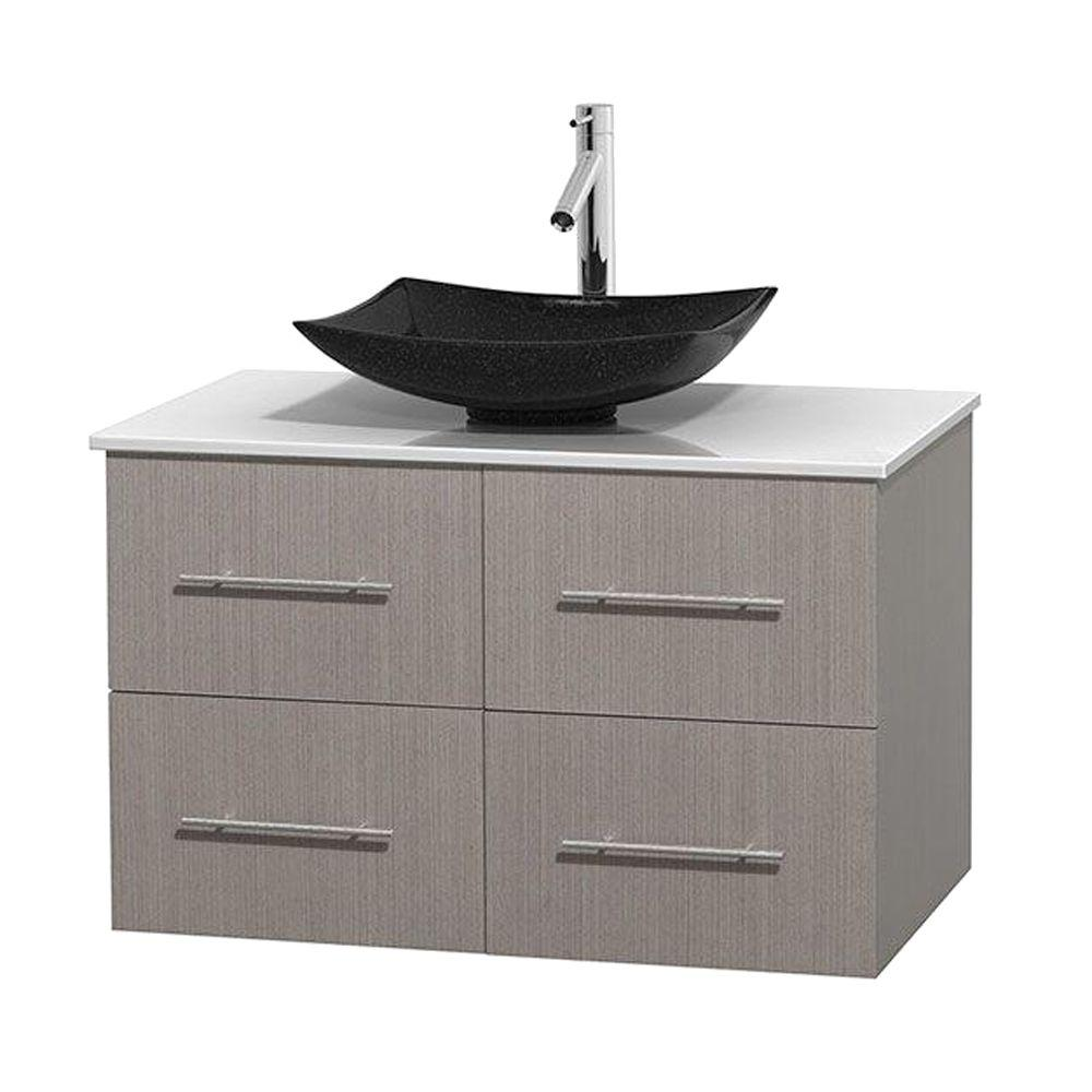 Wyndham Collection Centra 36 in. Vanity in Gray Oak with Solid-Surface Vanity Top in White and Black Granite Sink