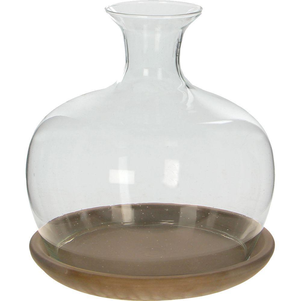 Terrariums pots planters the home depot h glass terrarium with brown basalt saucer solutioingenieria Images