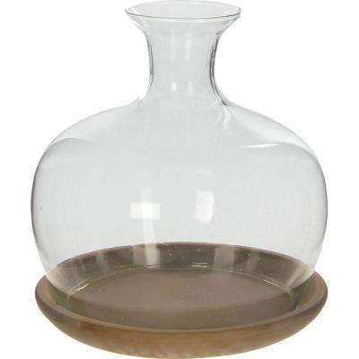 Vidro 9 in. Dia x 9 in. H Glass Terrarium with Brown Basalt Saucer in Color Box