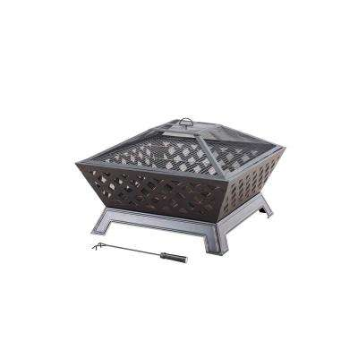 Dia. 34 in. H x 24.41 in. Steel Fire Pit in Black