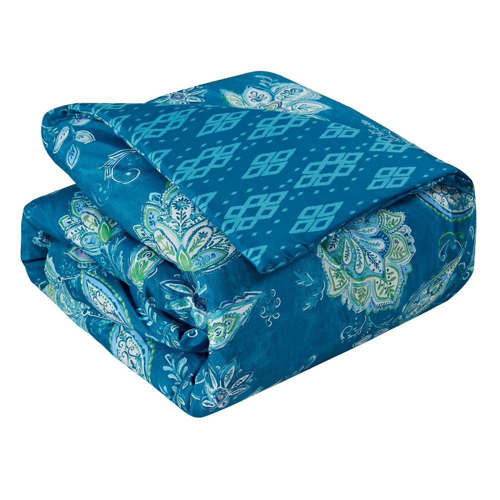 Jaipur 7-Piece Teal Floral Queen Comforter Set