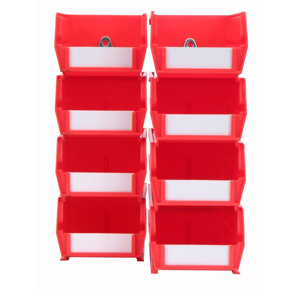 LocBin 4-1/8 in. W x 3 in. H Red Wall Storage Bin Organizer (8-Piece)