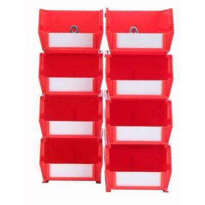 4-1/8 in. W x 3 in. H Red Wall Storage Bin Organizer (8-Piece)