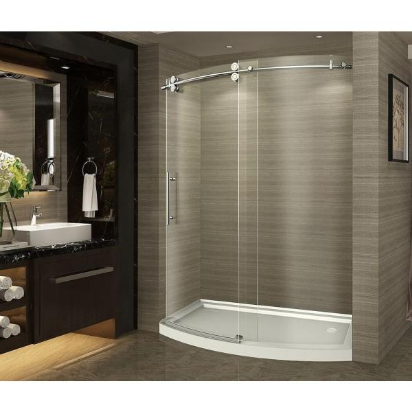 ZenArch 60 in. x 75 in. Completely Frameless Bowfront Sliding Shower Door in Chrome, Left Opening with Right Base