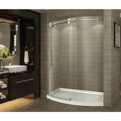 ZenArch 60 in. x 75 in. Completely Frameless Bowfront Sliding Shower Door in Stainless Steel with Right Opening and Base