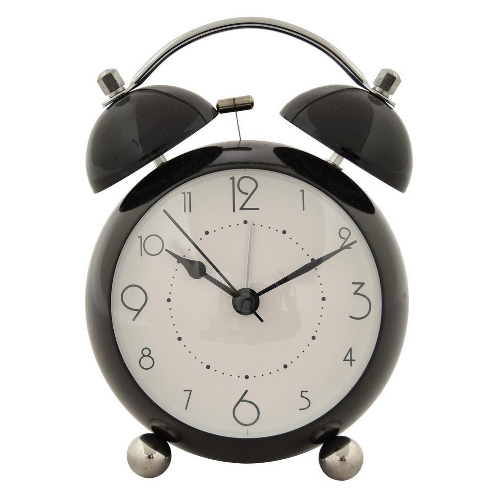 6 in. Black Metal Alarm Clock