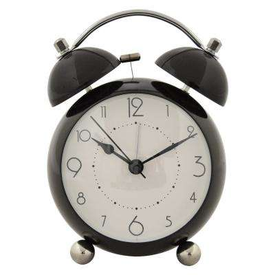 6 in. Black Metal Alarm Clock
