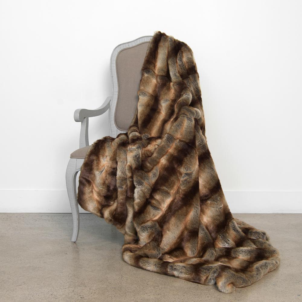 58 in. x 84 in. Chinchilla Faux Fur Throw
