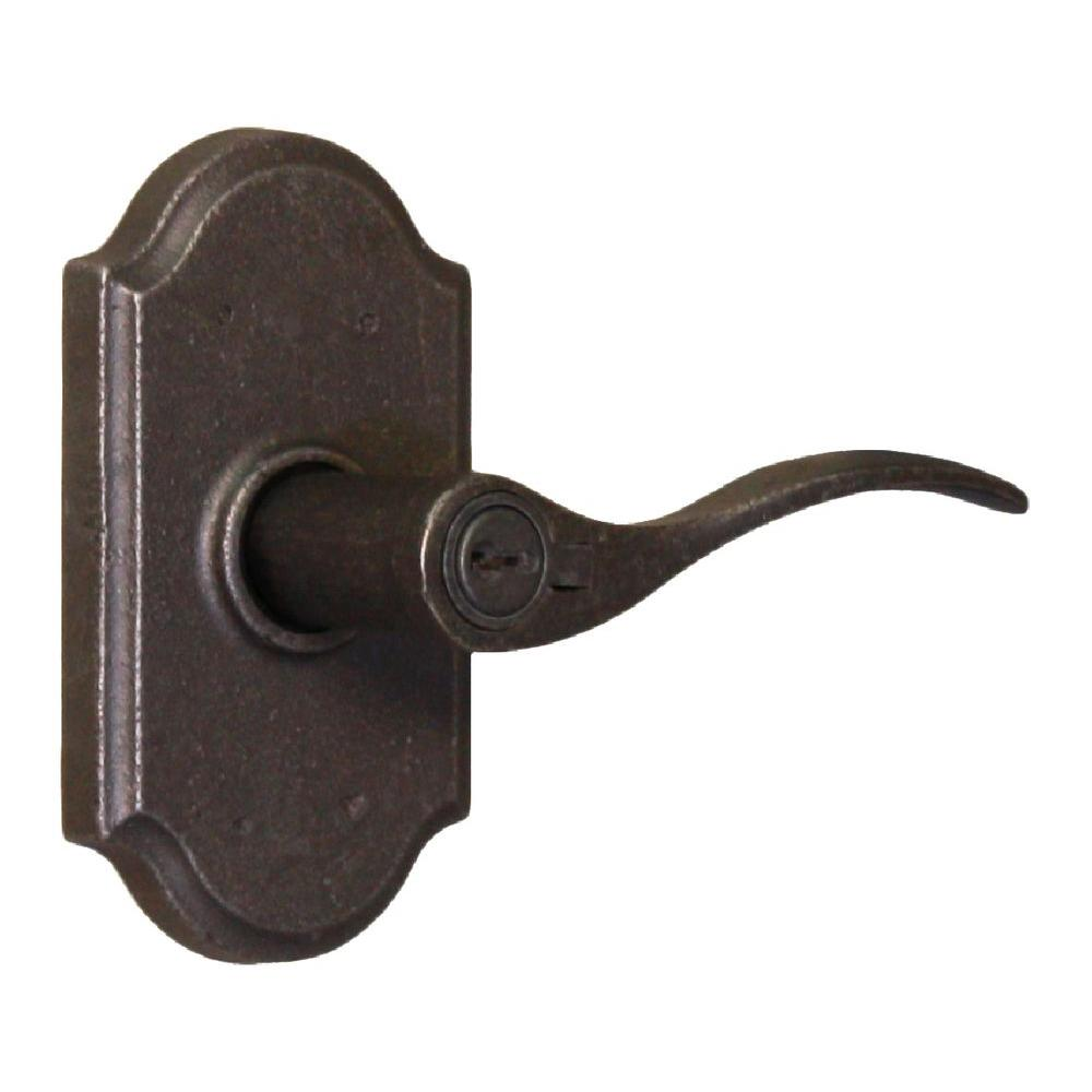 Weslock Molten Bronze Weathered Pewter Right Hand Premiere Keyed Entry Carlow Lever