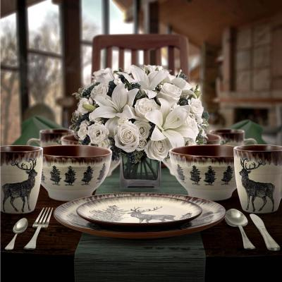 Majestic Elk 16-Piece Seasonal Taupe Stoneware Dinnerware Set (Service for 4)